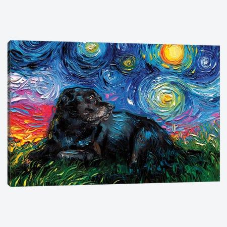 Black Labrador Night V Canvas Print #AJT279} by Aja Trier Canvas Wall Art