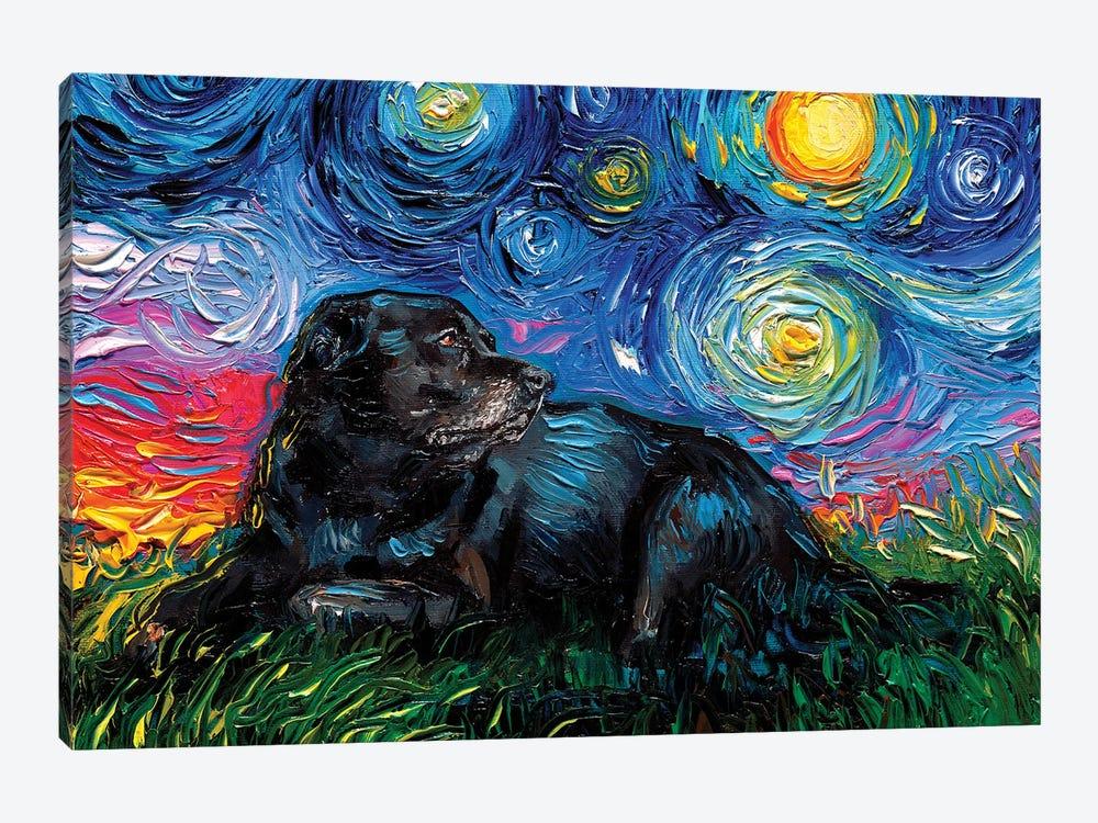 Black Labrador Night V by Aja Trier 1-piece Canvas Art