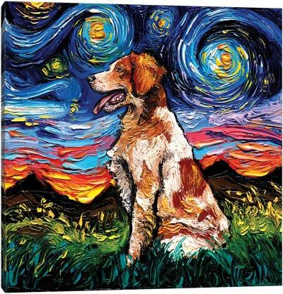 Brittany Spaniel Night Canvas Art Print