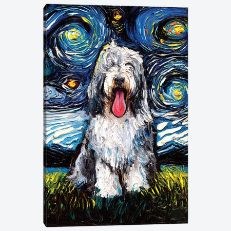 Bearded Collie Night Canvas Print #AJT284} by Aja Trier Canvas Art
