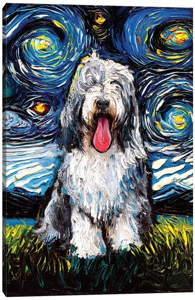 Bearded Collie Night Canvas Art Print
