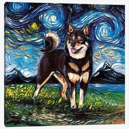 Black And Tan Shiba Inu Night Canvas Print #AJT285} by Aja Trier Canvas Artwork