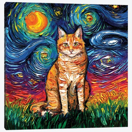Orange Tabby Night II Canvas Print #AJT290} by Aja Trier Canvas Art