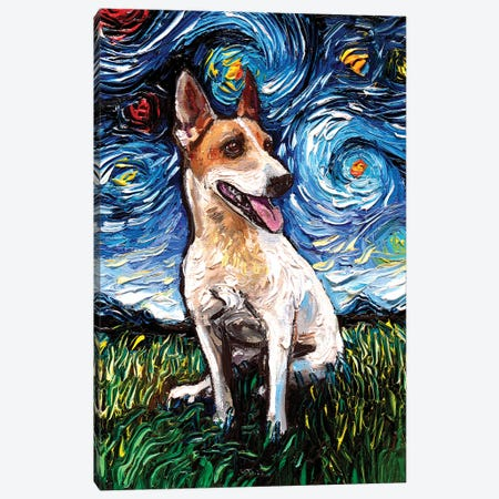 Jack Russell Terrier Night IV Canvas Print #AJT291} by Aja Trier Canvas Artwork
