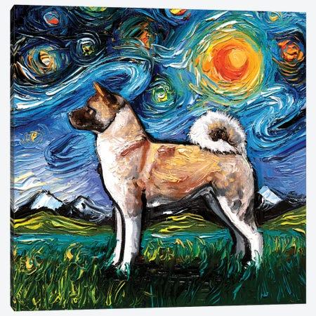 Akita Inu Night Canvas Print #AJT296} by Aja Trier Canvas Art Print
