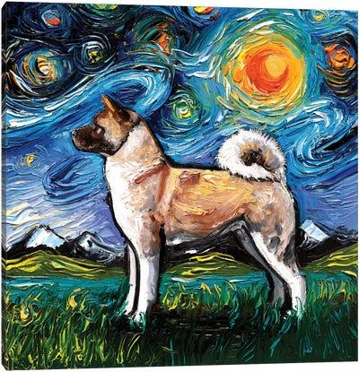 Akita Inu Night Canvas Art Print