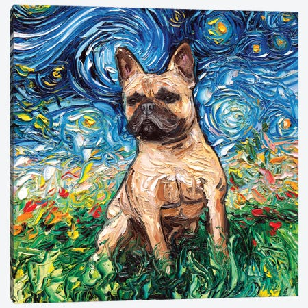 Fawn French Bulldog Night Canvas Print #AJT30} by Aja Trier Canvas Artwork