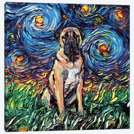 Fawn Mastiff Night Canvas Print #AJT31} by Aja Trier Canvas Art