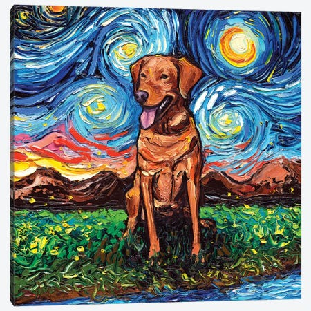 Fox Red Labrador Night Canvas Print #AJT32} by Aja Trier Canvas Art