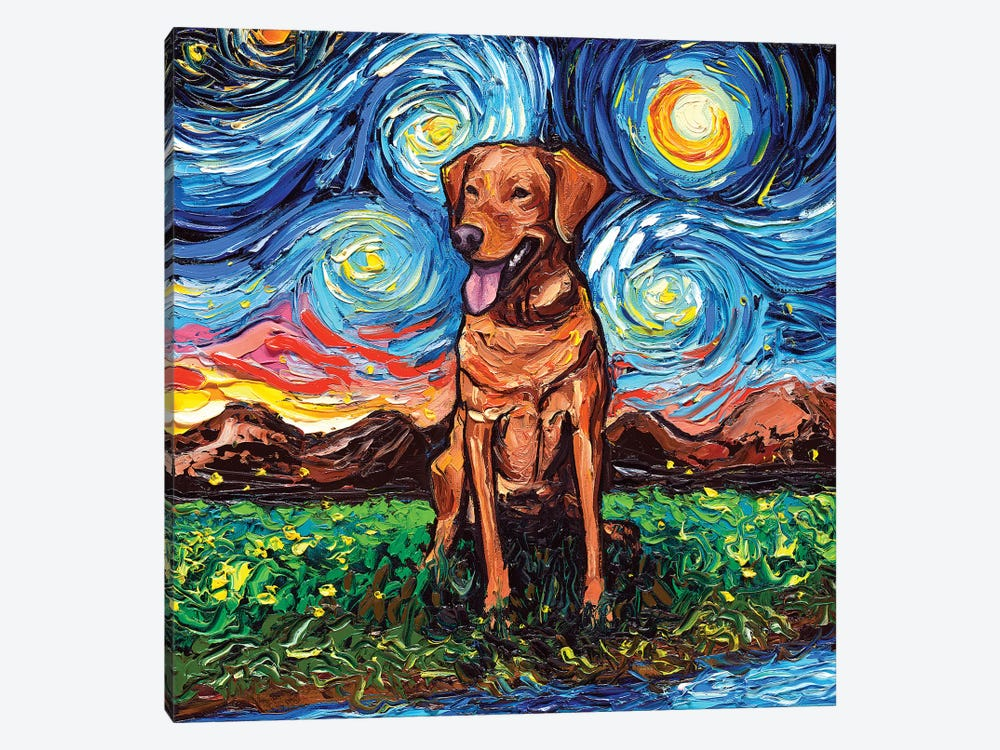 Fox Red Labrador Night by Aja Trier 1-piece Canvas Art