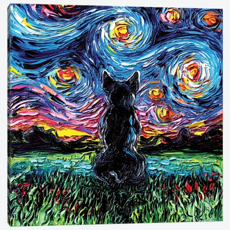 French Bulldog Night Canvas Print #AJT33} by Aja Trier Canvas Wall Art