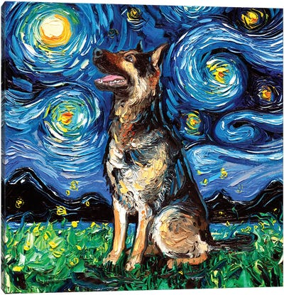 German Shepherd Night II Canvas Art Print