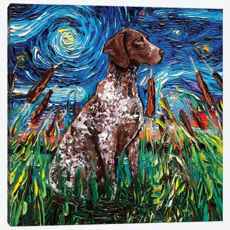 German Shorthair Night Canvas Print #AJT35} by Aja Trier Canvas Art Print