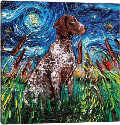 German Shorthair Night Canvas Art Print