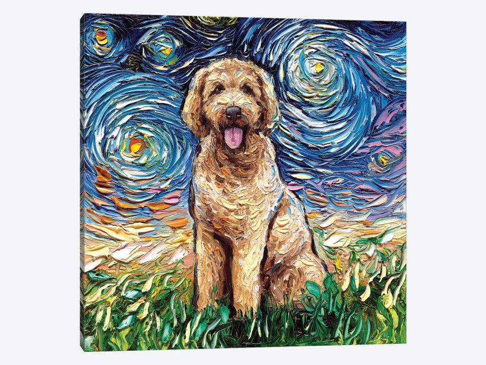 Goldendoodle Night by Aja Trier 1-piece Canvas Wall Art