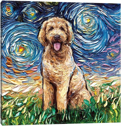 Goldendoodle Night Canvas Art Print