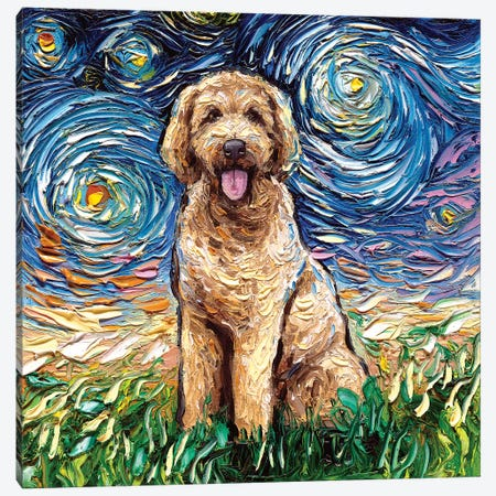 Goldendoodle Night Canvas Print #AJT36} by Aja Trier Canvas Art Print