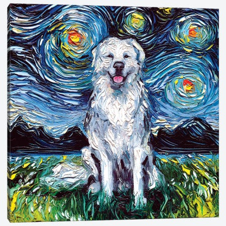 Great Pyrenees Night Canvas Print #AJT37} by Aja Trier Canvas Art Print
