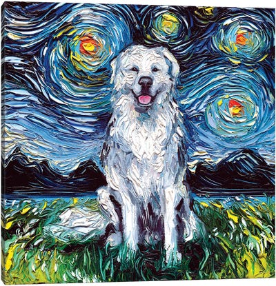 Great Pyrenees Night Canvas Art Print