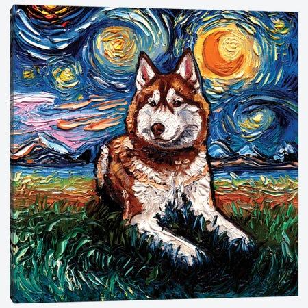 Red Husky Night Canvas Print #AJT398} by Aja Trier Art Print