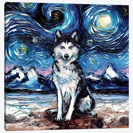 Husky Night Canvas Print #AJT39} by Aja Trier Canvas Artwork