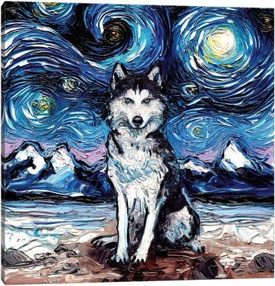 Husky Night Canvas Art Print