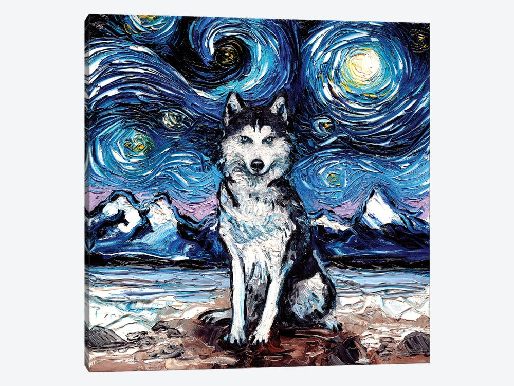 Husky Night by Aja Trier 1-piece Art Print
