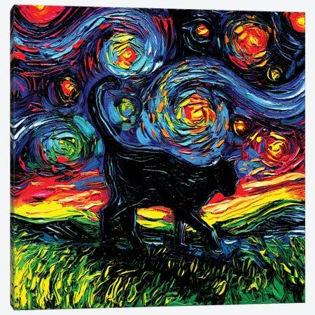 Black Cat Night IV Canvas Print #AJT401} by Aja Trier Art Print