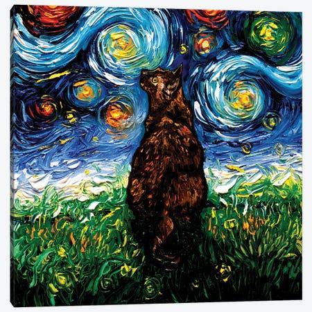 Tortoiseshell Cat Night Canvas Print #AJT407} by Aja Trier Canvas Wall Art