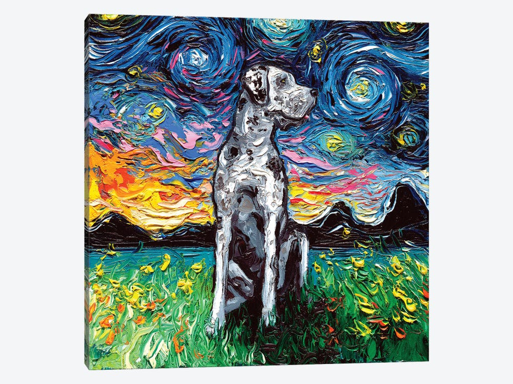 Merle Great Dane Night by Aja Trier 1-piece Canvas Wall Art