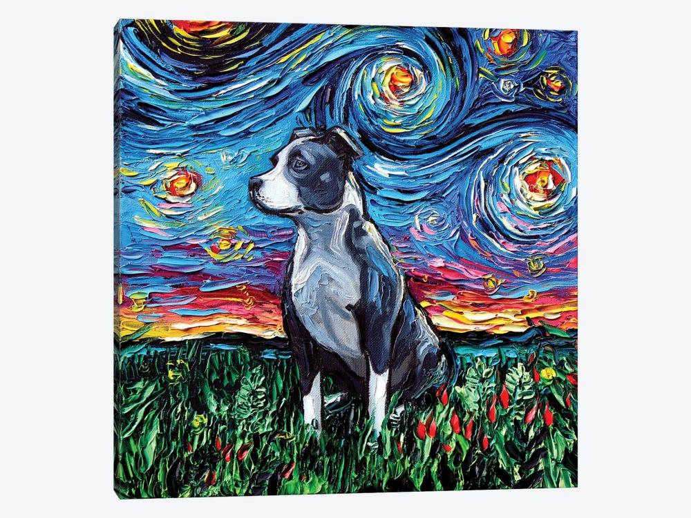 Pitbull Night by Aja Trier 1-piece Canvas Art Print
