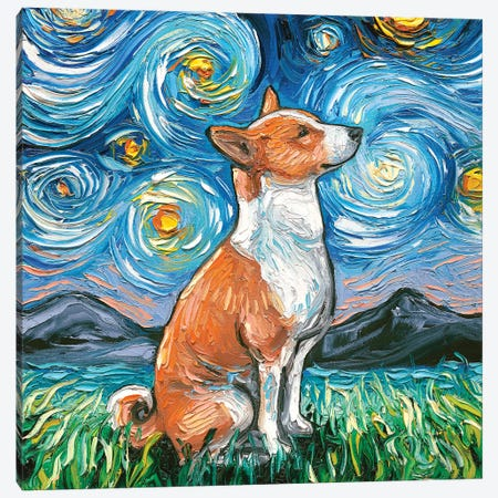 Basenji Night Canvas Print #AJT4} by Aja Trier Canvas Wall Art