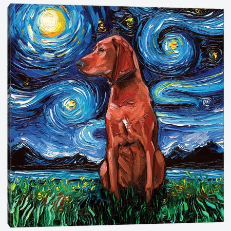 Redbone Coonhound Night Canvas Print #AJT50} by Aja Trier Canvas Art