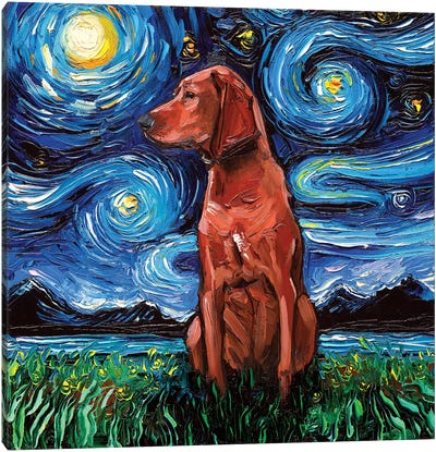 Redbone Coonhound Night Canvas Art Print