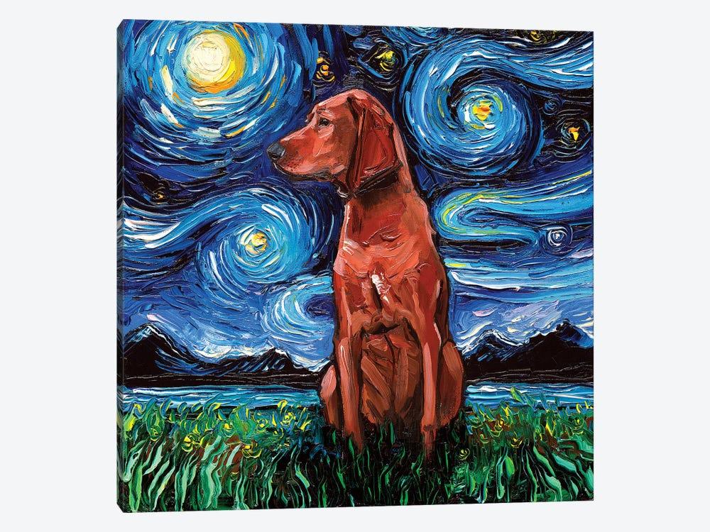 Redbone Coonhound Night by Aja Trier 1-piece Canvas Artwork