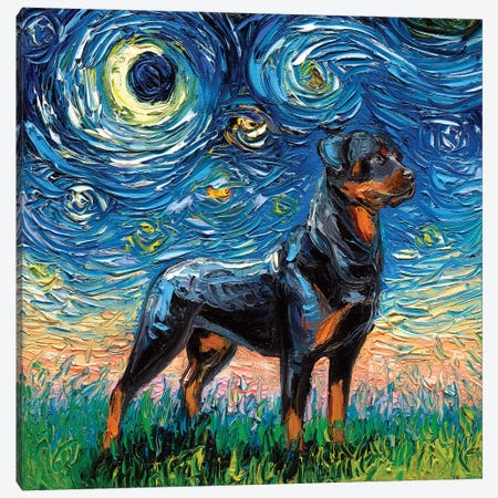 Rottweiler Night I Canvas Print #AJT51} by Aja Trier Canvas Art