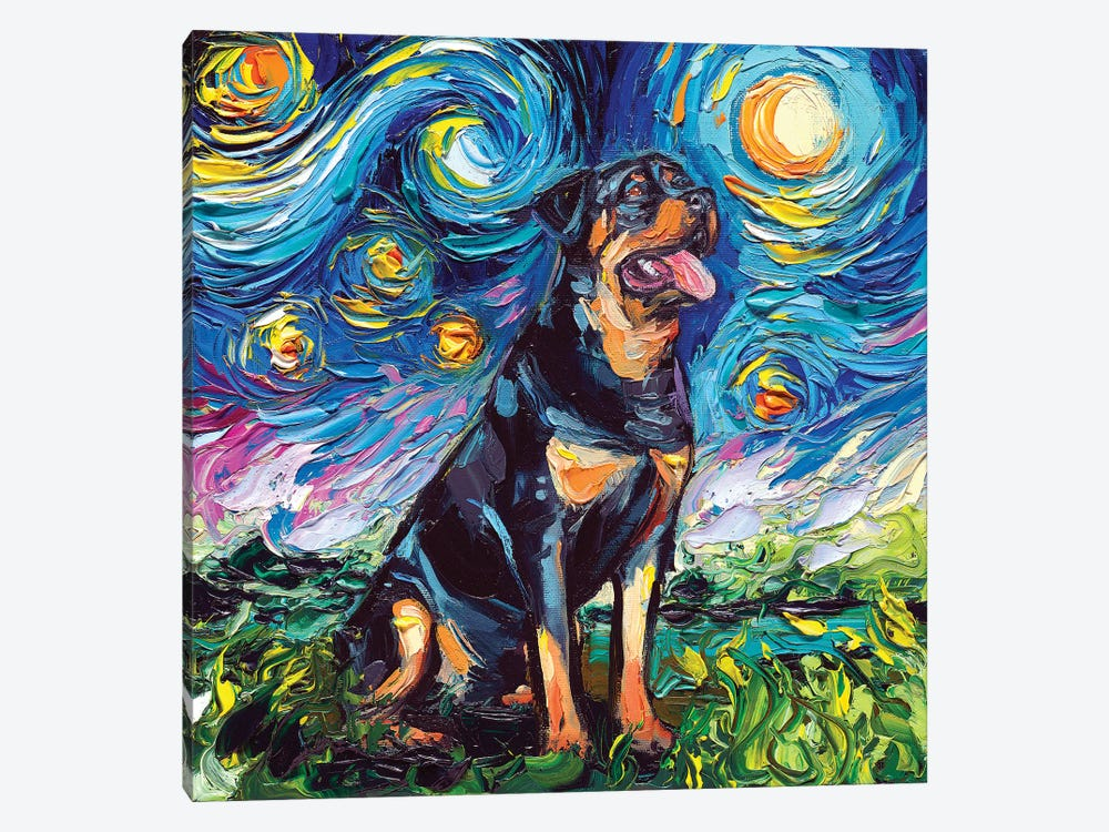 Rottweiler Night II by Aja Trier 1-piece Canvas Wall Art