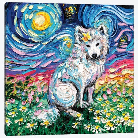 Samoyed Night II Canvas Print #AJT54} by Aja Trier Art Print