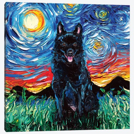 Schipperke Night Canvas Print #AJT55} by Aja Trier Art Print