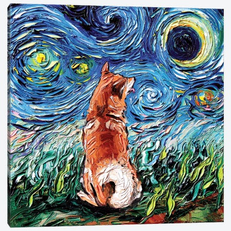 Shiba Inu Night Canvas Print #AJT58} by Aja Trier Canvas Wall Art