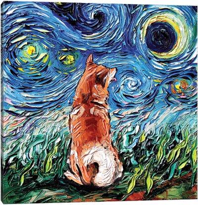 Shiba Inu Night Canvas Art Print