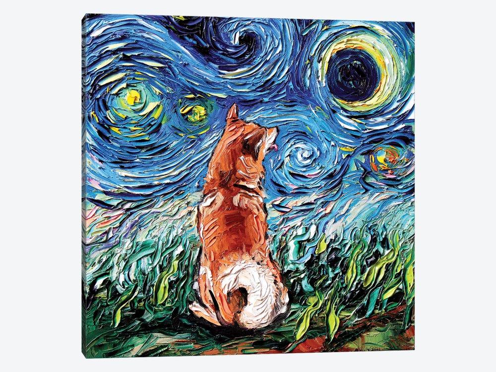 Shiba Inu Night by Aja Trier 1-piece Canvas Artwork