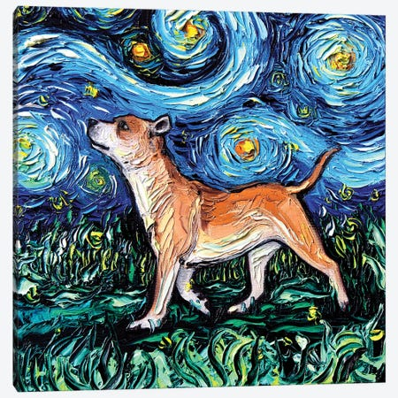 Staffordshire Bull Terrier Night Canvas Print #AJT59} by Aja Trier Canvas Wall Art