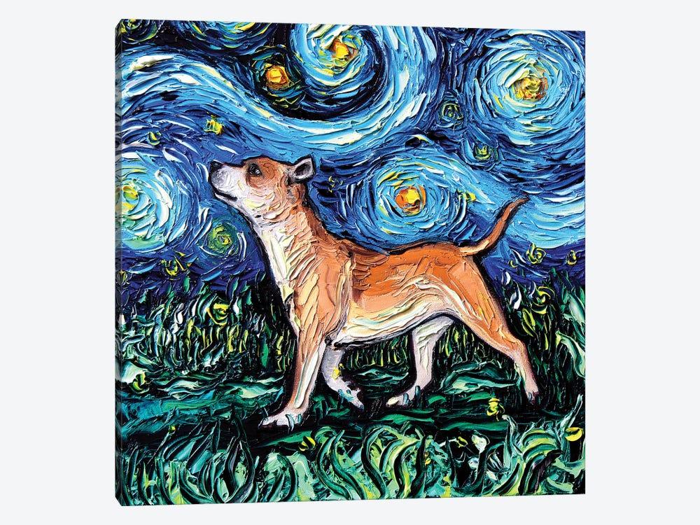 Staffordshire Bull Terrier Night by Aja Trier 1-piece Canvas Art Print