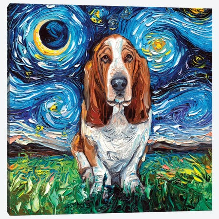 Basset Hound Night Canvas Print #AJT5} by Aja Trier Canvas Art
