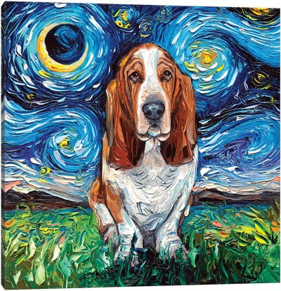 Basset Hound Night Canvas Art Print