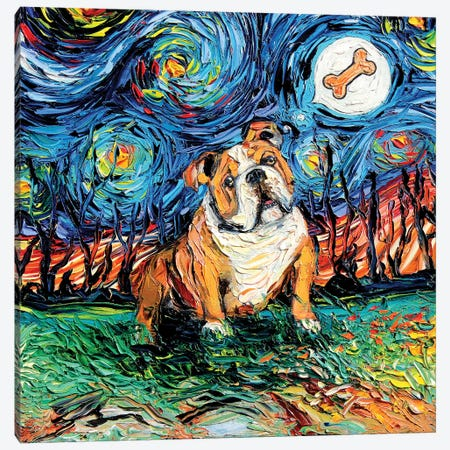 Starry Bulldog Canvas Print #AJT60} by Aja Trier Canvas Art Print