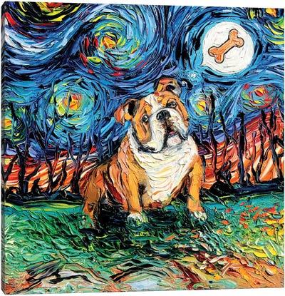 Starry Bulldog Canvas Art Print