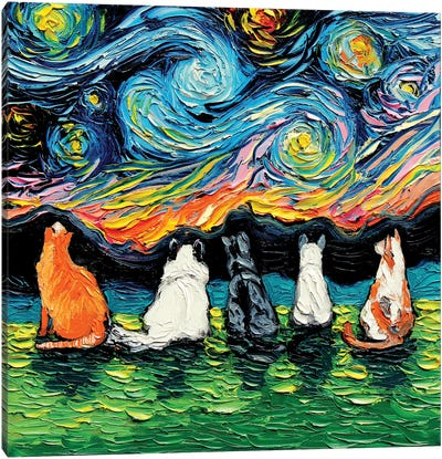 Starry Cats Canvas Art Print