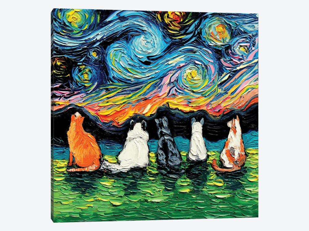 Starry Cats by Aja Trier 1-piece Canvas Artwork